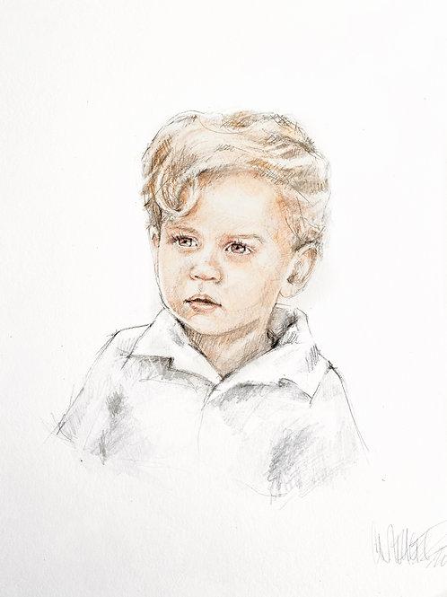 16x20 SINGLE CHILD watercolor portrait