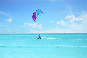 Kite surfing at Aruba island in the cari