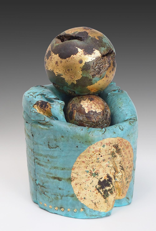 sculpture, cement sculpture, turquoise, gold