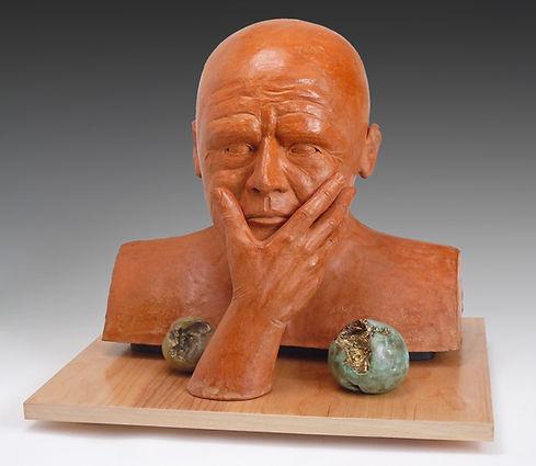 sculpture, art, contemporaryart, contemporarysculpture, sculptor, ceramic art, Pondering Man-300dpi.jpg