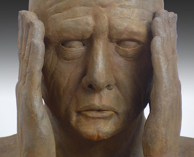 Man with Hands by Face