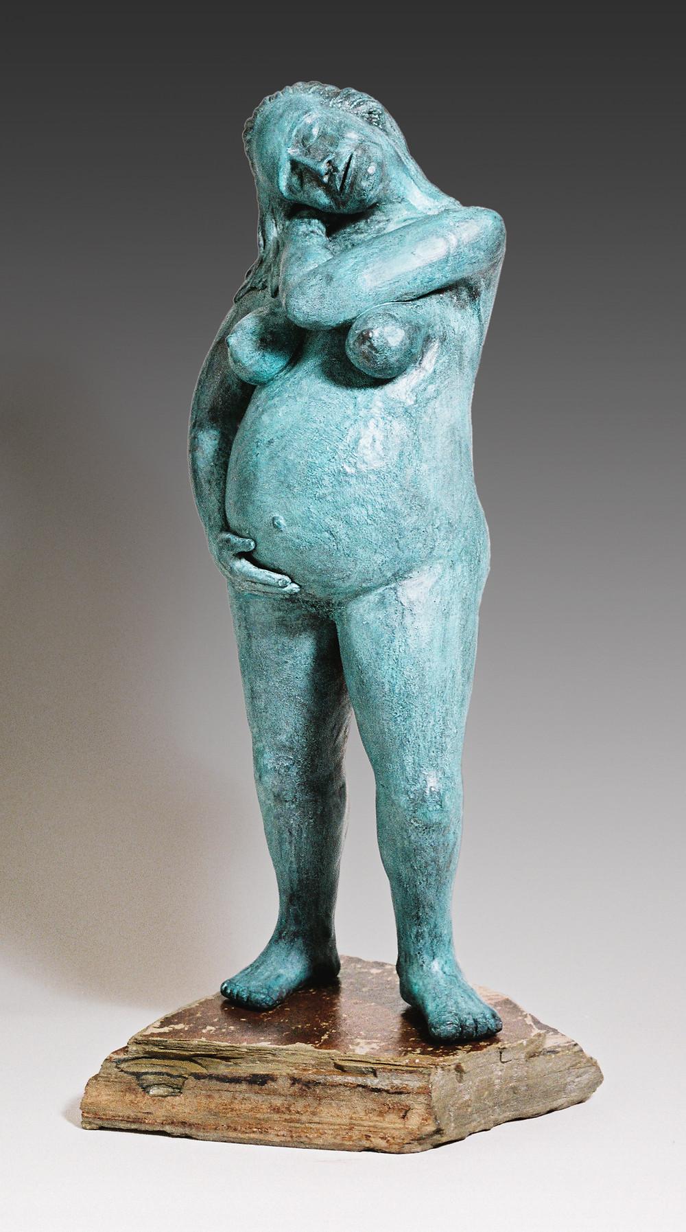 figurative sculpture, pregnant woman, sculpture of pregnant woman