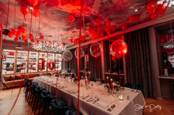 Red Party Balloon Decor and Table Set