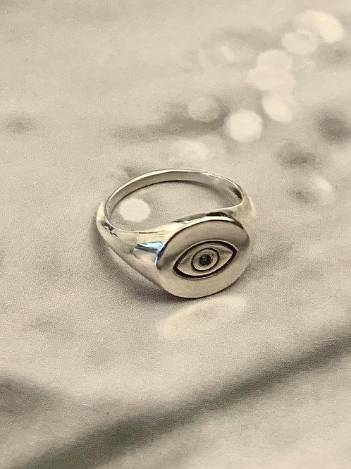 טבעת חותם עגולה עם עין