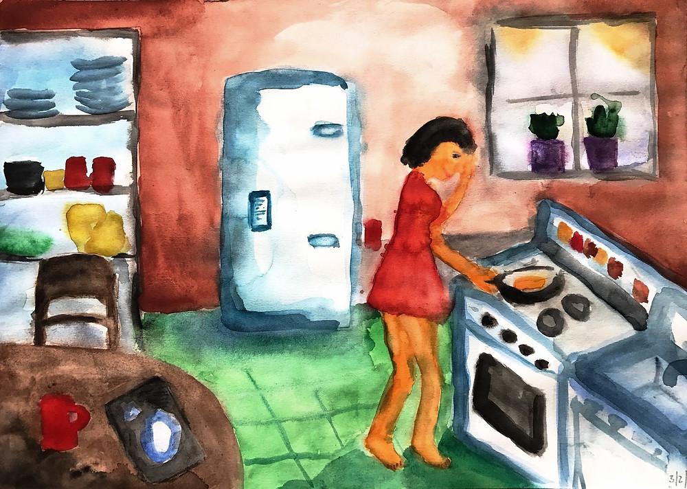 Všední den po ránu, akvarel