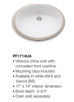 Ferguson Bathroom Sink - Dimensions (PF1714UA)