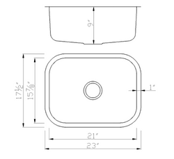 Small Horizontal Oval Stainless Kitchen Sink - Dimensions (2318)