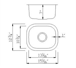 Small Single Stainless Kitchen Sink - Dimensions (1512)