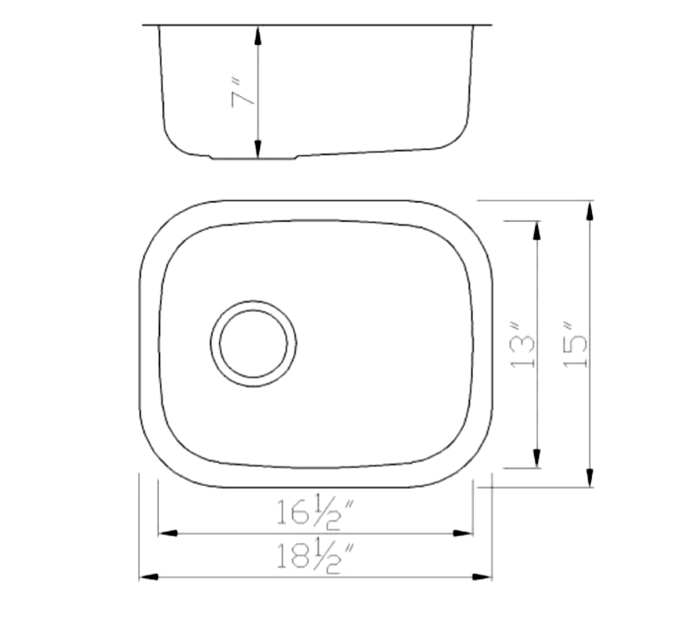 Small Vertical Oval Stainless Kitchen Sink - Dimensions (1815)