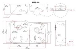 Uneven Double Bowl Kitchen Sink - Dimensions (M603)