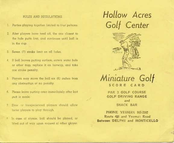 Original miniature scorecard