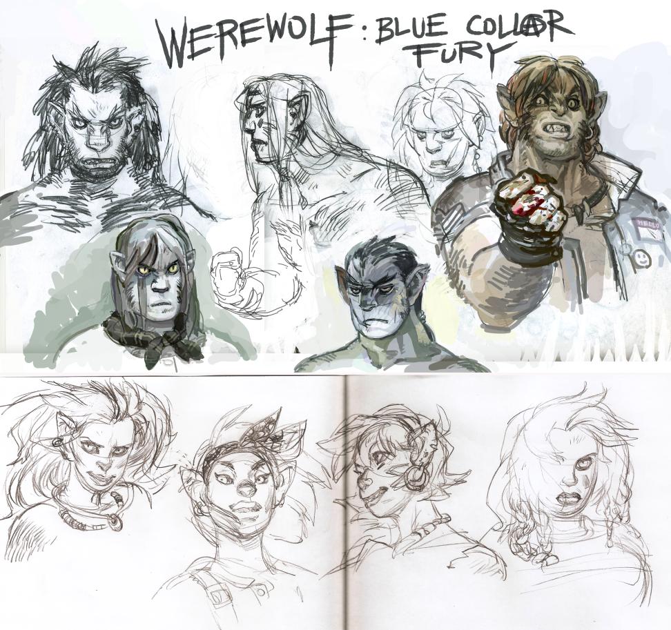 Werewolf head studies