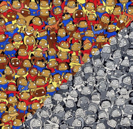 """""""Mais où est Taouch"""", peinture acrylique 50cm x 50cm, 2007"""