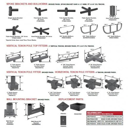 4 Inch & 5 Inch Straight Square Steel Pole Mounting Options - Special Order Only