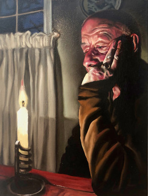 Sitting Man with Candle