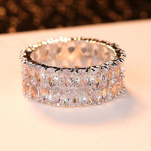 Boho Female Big Crystal Zircon Stone Ring