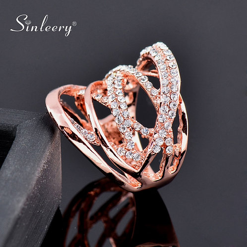 SINLEERY Fashion Multi Circles Twisted Wide Rings