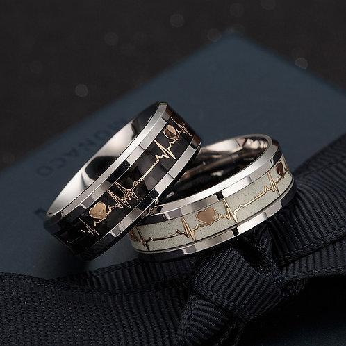 Glowing ECG Stainless Steel  Ring