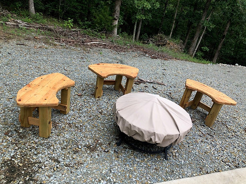 Set of 3 Round Fire Pit Benches