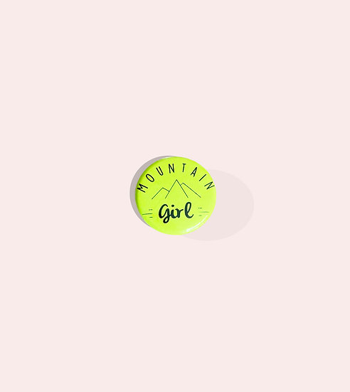 Badge mountain girl jaune fluo