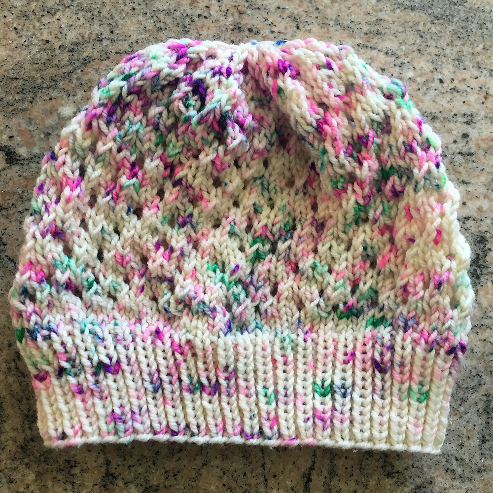 The completed hat before blocking it.