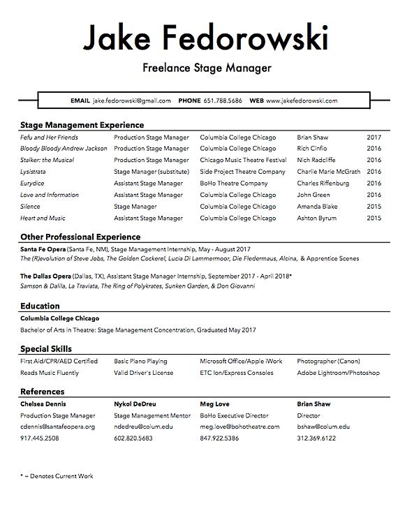 Stage Management Resume  Stage Management Resume