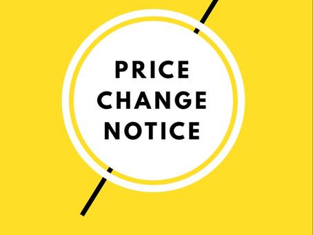 10月からの料金変更のお知らせ🙏changing price from october