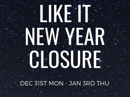 年末年始の営業時間のご案内🎍Like iT new year closure