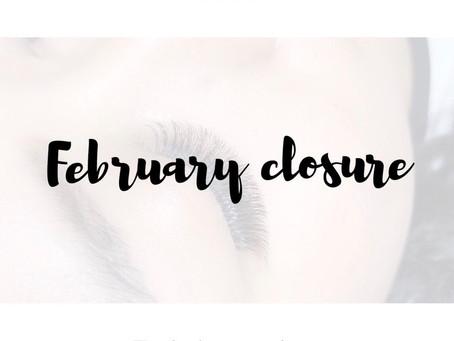休業日のお知らせ👀lash feb closure