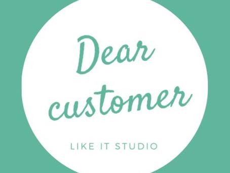 dear customer  お客様へ
