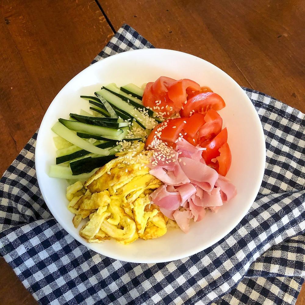 Hiyashi chuka ricetta recipe Cookingwiththehamster