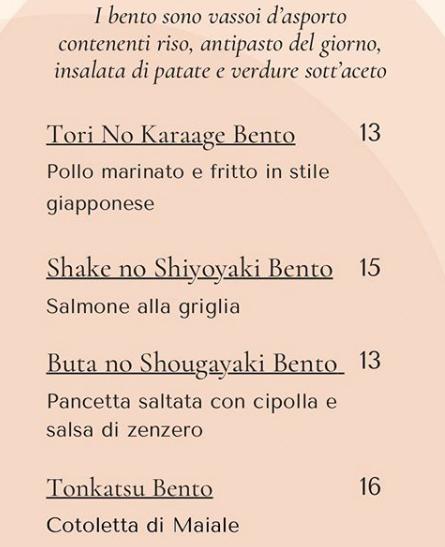 Nozomi menù