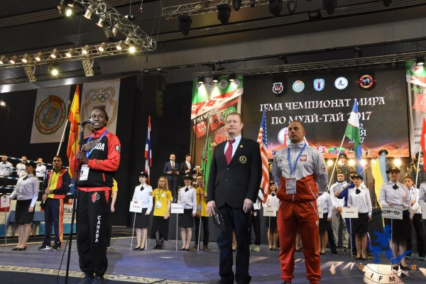 Candice Mitchell, ,Canada with Anatoliy Kemen, Belarus and Rafal Simonides, Poland take the Oaths on behalf of athletes, referees and coaches