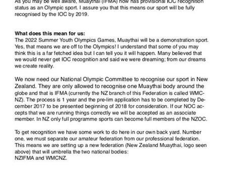 NZ Muaythai towards Olympic Games