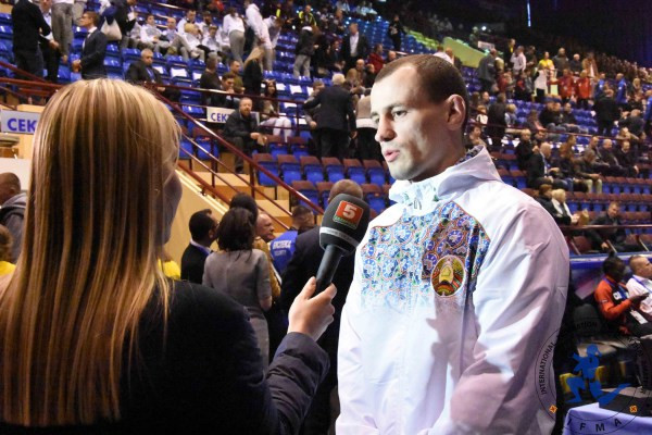 Dmitry Valent from Belarus, defending World Champion at 81kgs being interviewed for national television.