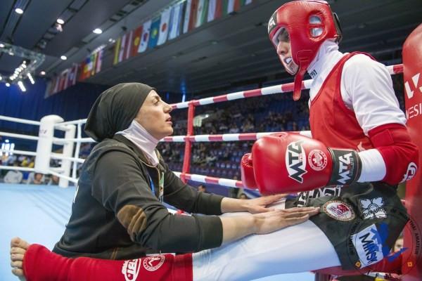 Iran's Somayeh Khazaei 54kgs during her bout with Belarus' Maruya Zhuk