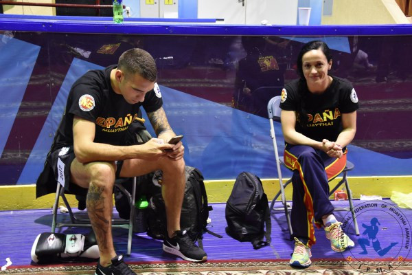 What did athletes do in between bouts before mobile phones? Spain's Victor Montfort 81kgs w coach/athlete Saray Medina