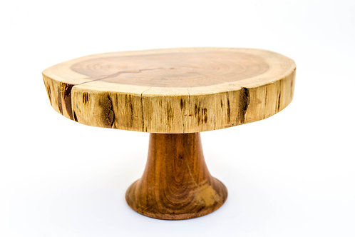 Wood Cake Stand With Pedestal