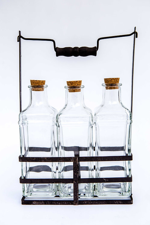 Glass Bottles with Metal Suport