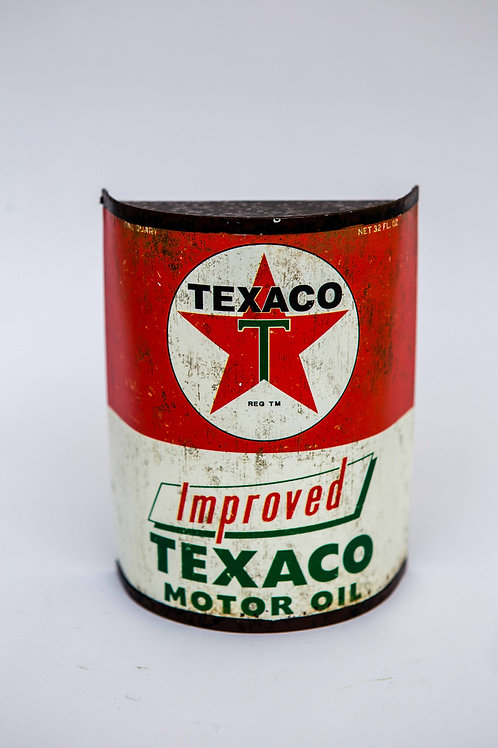 Texaco Motor Oil Half Can Metal Sign