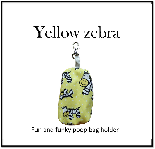 Poop bag holder - Yellow Zebra