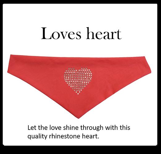 Bandana - Rhinestone Heart on pink