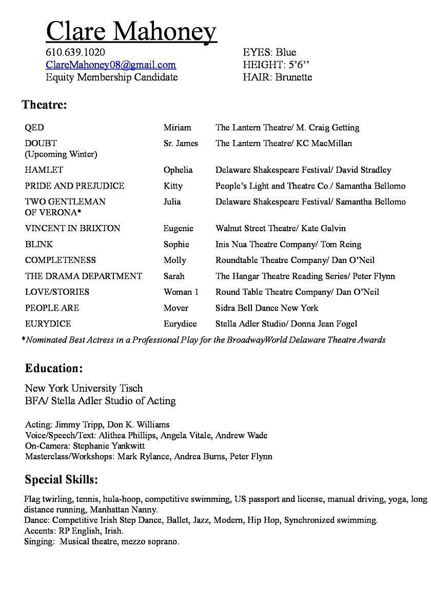 clare mahoney resume click on resume to pdf