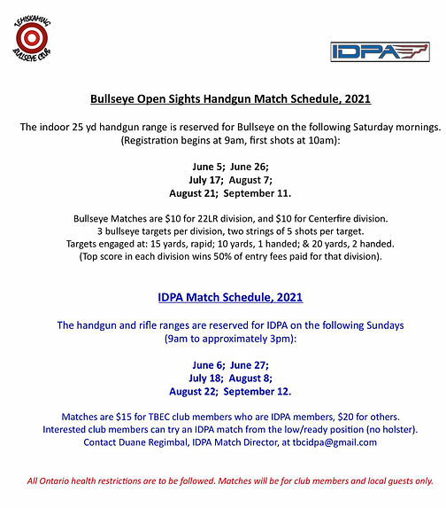 Handgun Bullseye & IDPA events 2021 - Ma