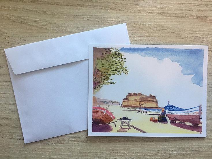"""Lot de 5 cartes """"Pointu au Port Saint Louis"""""""