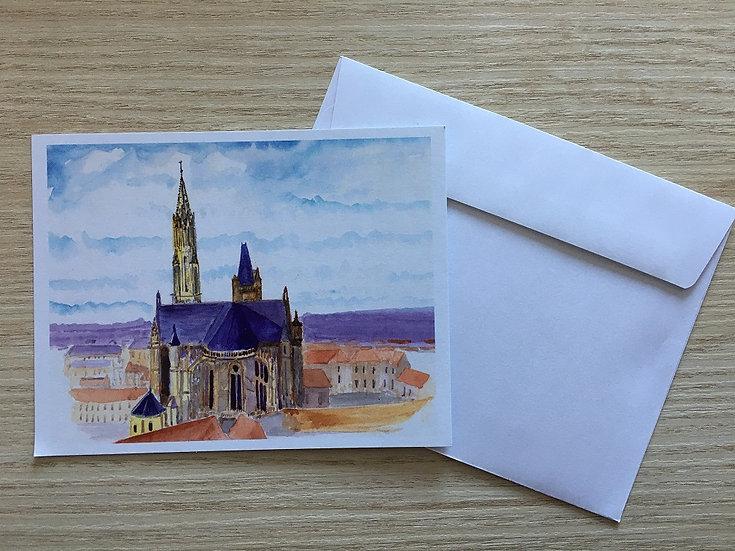 """Lot de 5 cartes """"La Cathédrale de Senlis"""""""