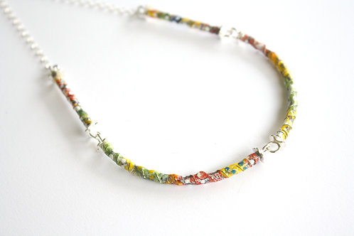 Yellow Enamel Tube Necklace