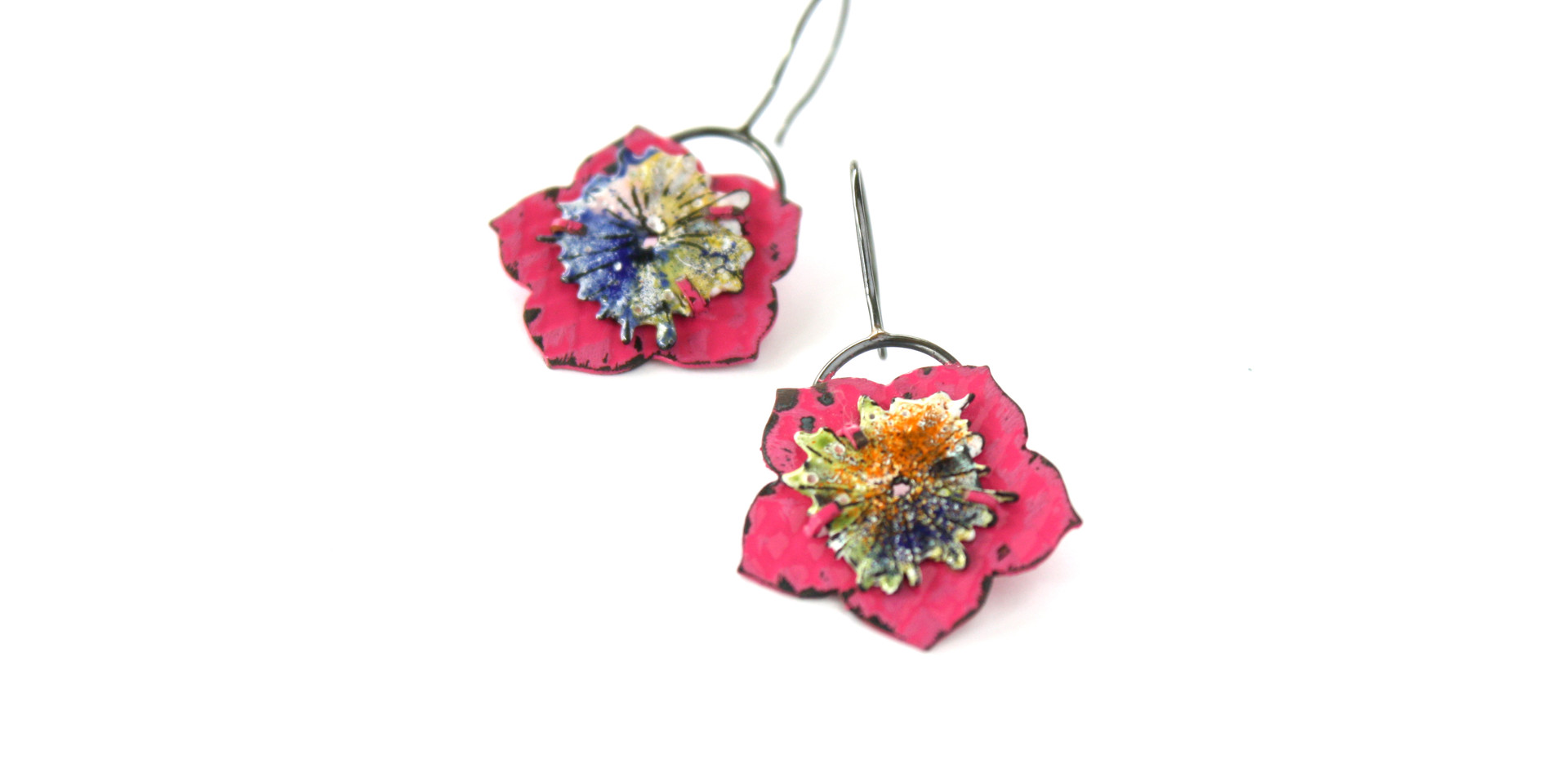 Enamel Lotus Earrings