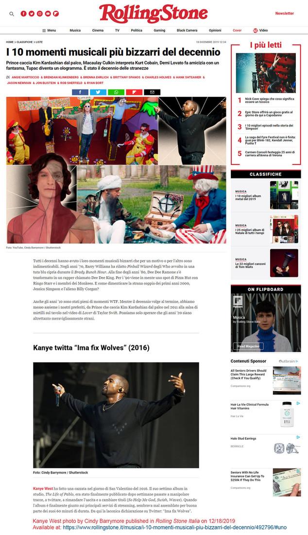 Kanye West in Rolling Stone Italia