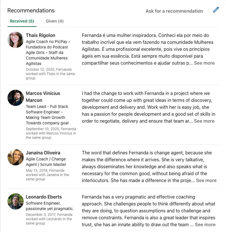 Lista de recomendações do LinkedIn